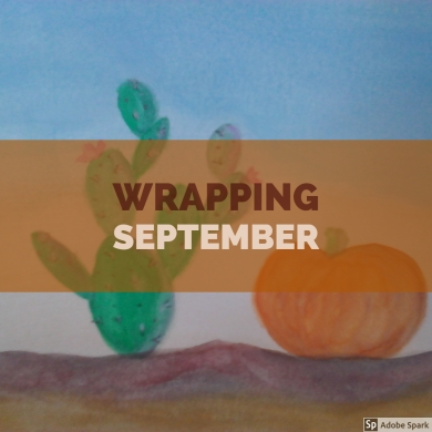 Wrapping September graphic with pumpkin and cactus