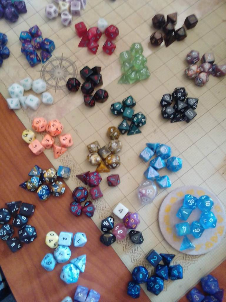 A selection of dice sets which Katherine owns.